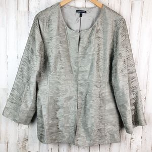 Eileen Fisher Silk Ripple Bindu Jacket Stone Taupe